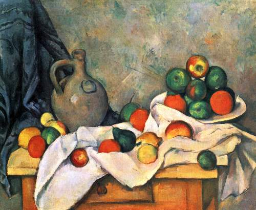 t_Cezanne - Still life, drapery, pitcher and fruit bowl